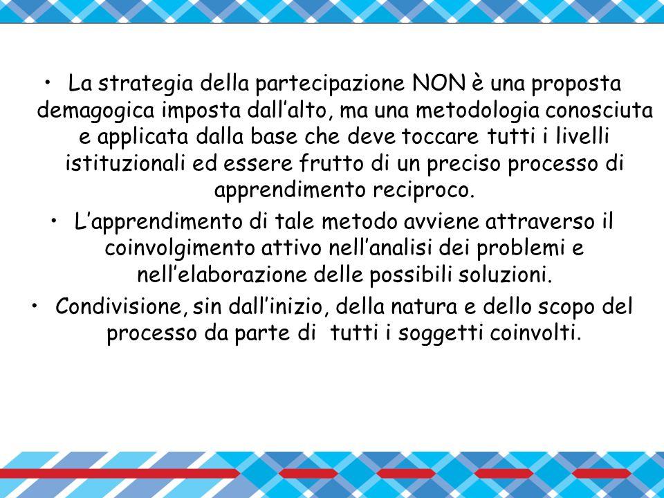 La strategia della partecipazione NON è una proposta demagogica imposta dall'alto, ma una metodologia conosciuta e applicata dalla base che deve toccare tutti i livelli istituzionali ed essere frutto di un preciso processo di apprendimento reciproco.