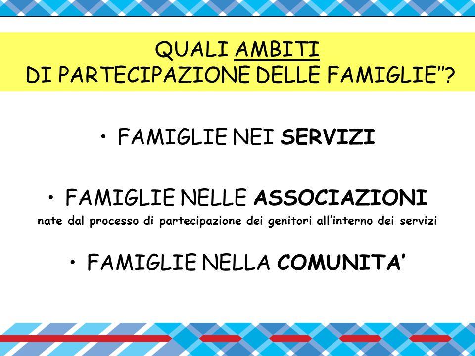 QUALI AMBITI DI PARTECIPAZIONE DELLE FAMIGLIE''