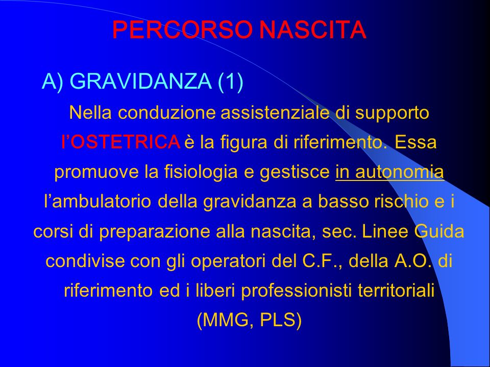 PERCORSO NASCITA A) GRAVIDANZA (1)