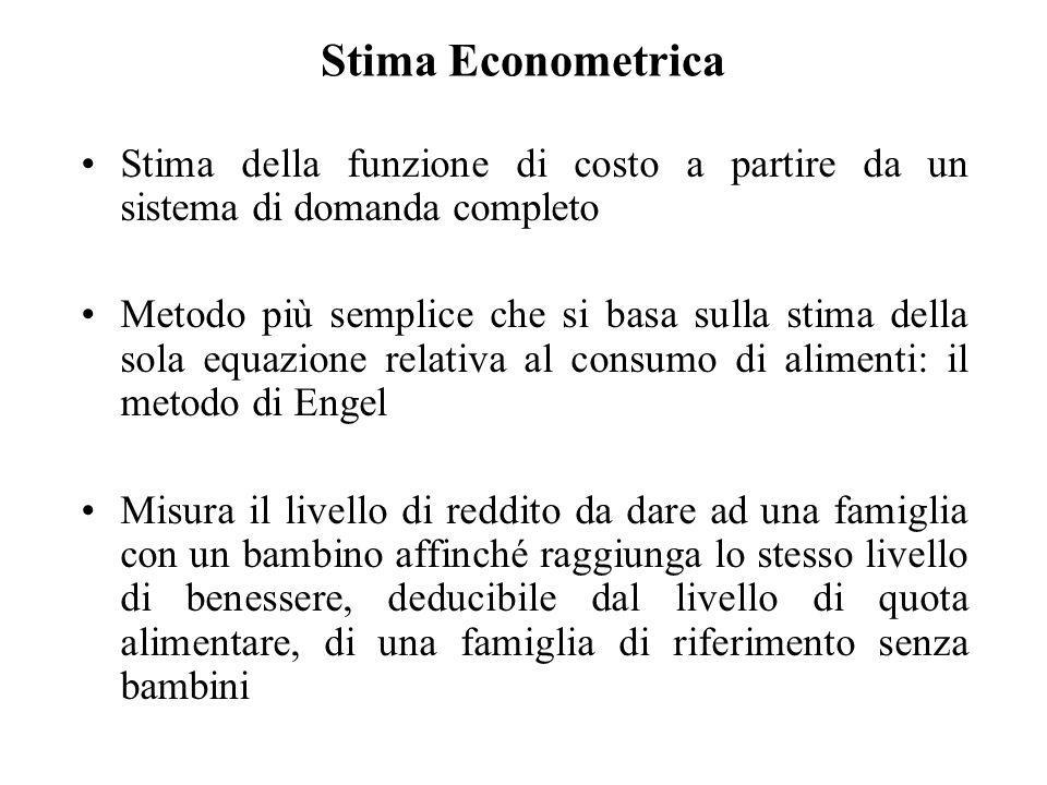Stima EconometricaStima della funzione di costo a partire da un sistema di domanda completo.