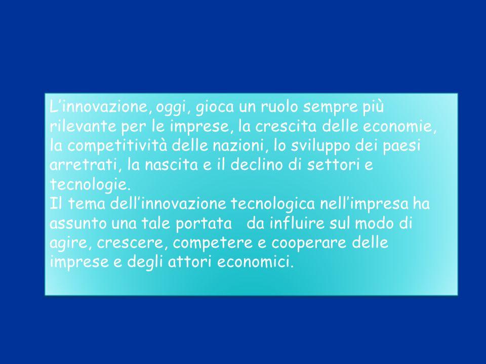 L'innovazione, oggi, gioca un ruolo sempre più rilevante per le imprese, la crescita delle economie, la competitività delle nazioni, lo sviluppo dei paesi arretrati, la nascita e il declino di settori e tecnologie.