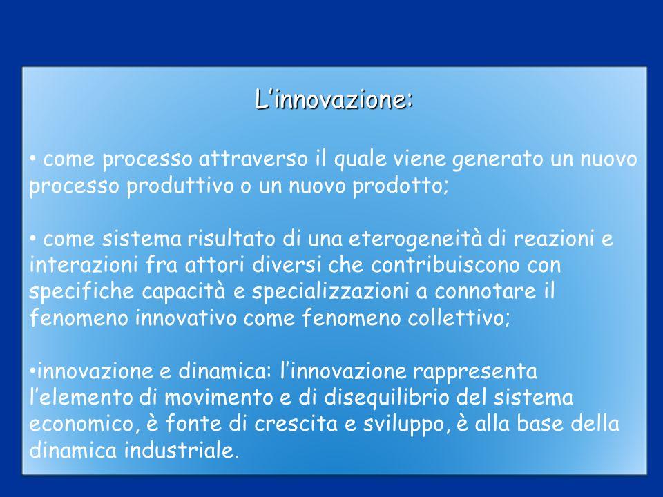 L'innovazione: come processo attraverso il quale viene generato un nuovo processo produttivo o un nuovo prodotto;