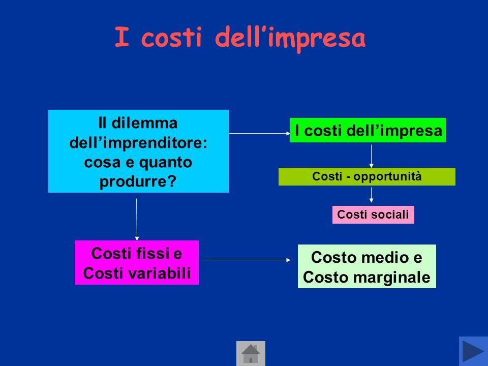 I costi dell'impresa Il dilemma dell'imprenditore: cosa e quanto produrre I costi dell'impresa.