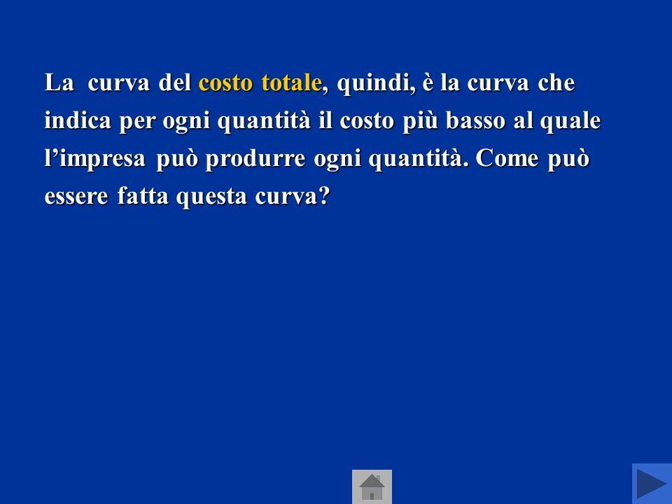 La curva del costo totale, quindi, è la curva che indica per ogni quantità il costo più basso al quale l'impresa può produrre ogni quantità.
