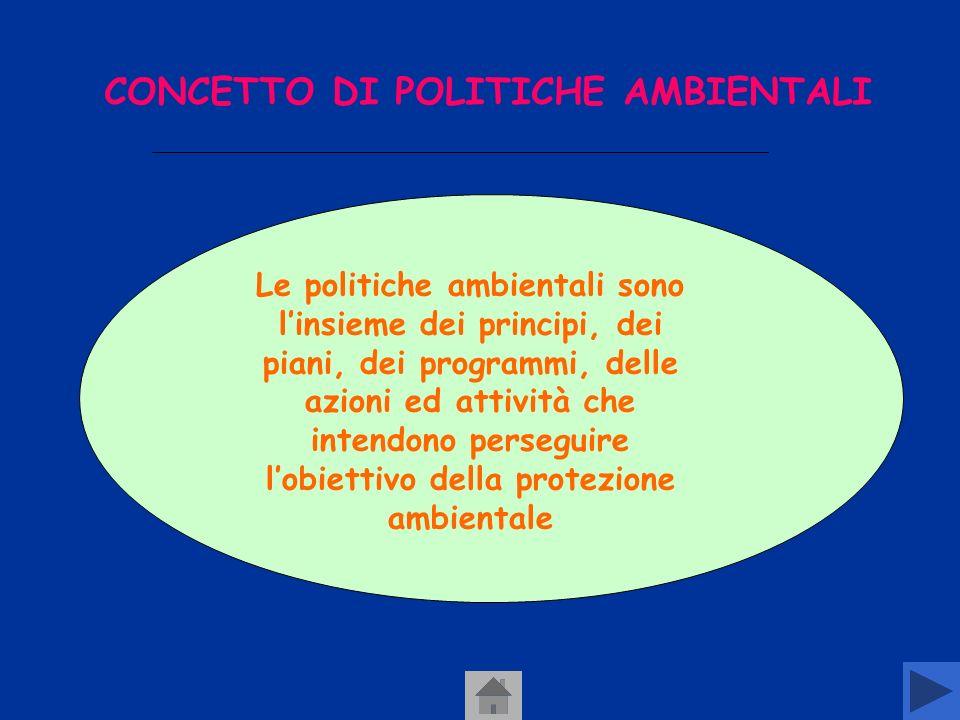 CONCETTO DI POLITICHE AMBIENTALI