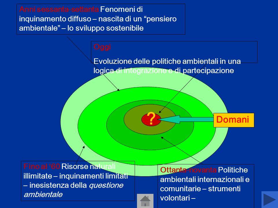 Anni sessanta-settanta Fenomeni di inquinamento diffuso – nascita di un pensiero ambientale – lo sviluppo sostenibile