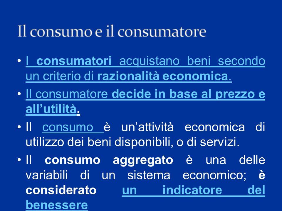 Il consumatore decide in base al prezzo e all'utilità.