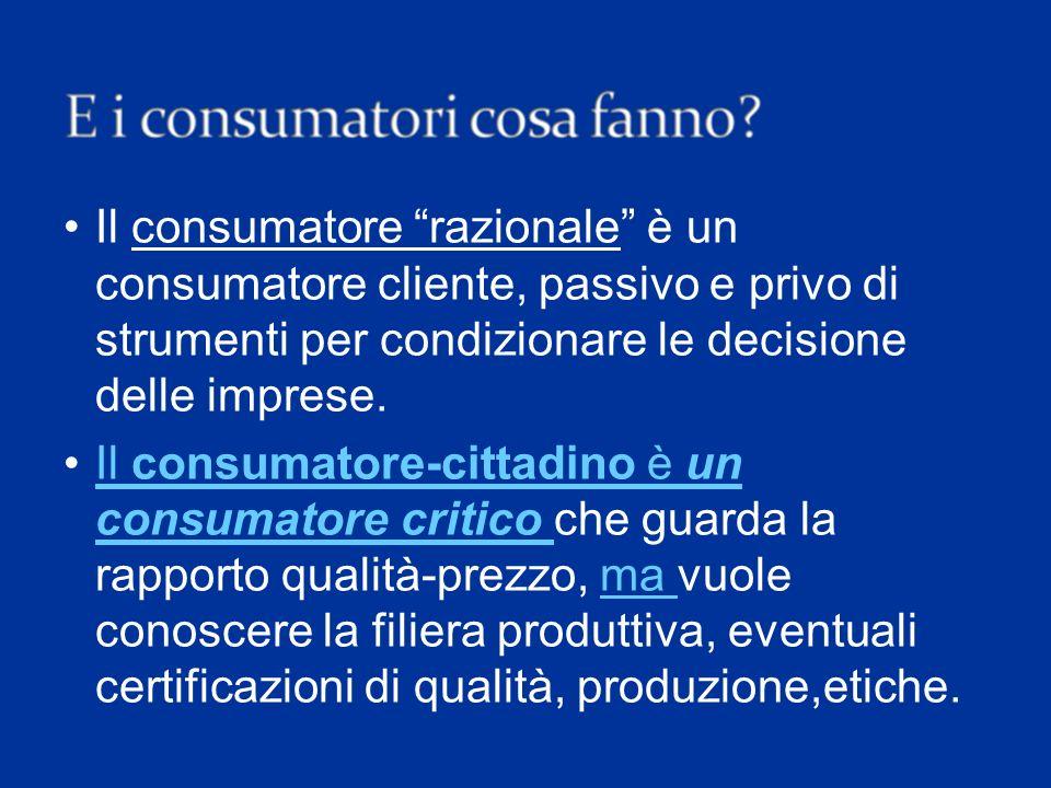 Il consumatore razionale è un consumatore cliente, passivo e privo di strumenti per condizionare le decisione delle imprese.