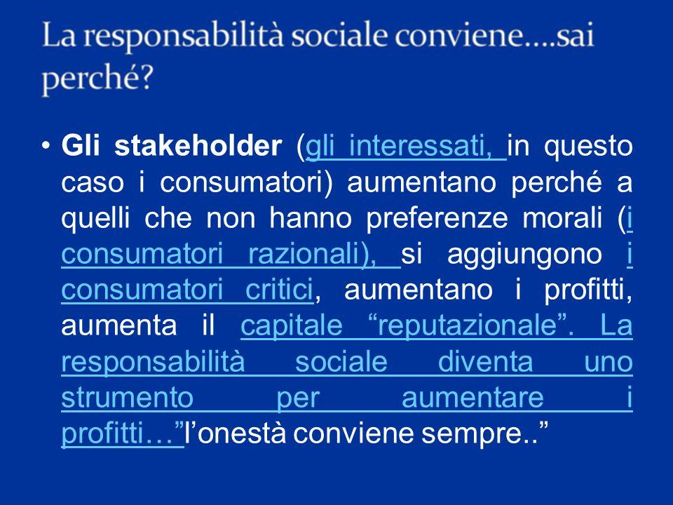 Gli stakeholder (gli interessati, in questo caso i consumatori) aumentano perché a quelli che non hanno preferenze morali (i consumatori razionali), si aggiungono i consumatori critici, aumentano i profitti, aumenta il capitale reputazionale .