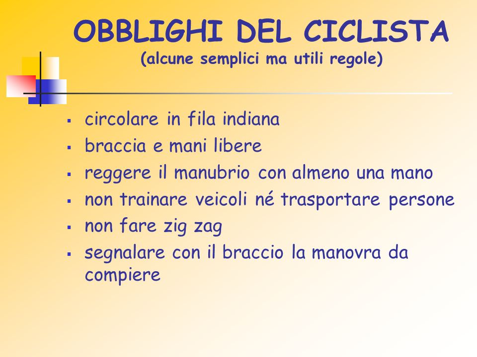 OBBLIGHI DEL CICLISTA (alcune semplici ma utili regole)
