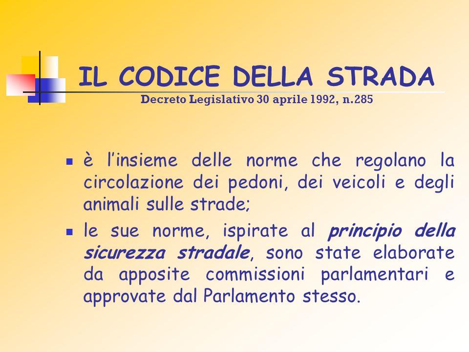 IL CODICE DELLA STRADA Decreto Legislativo 30 aprile 1992, n.285