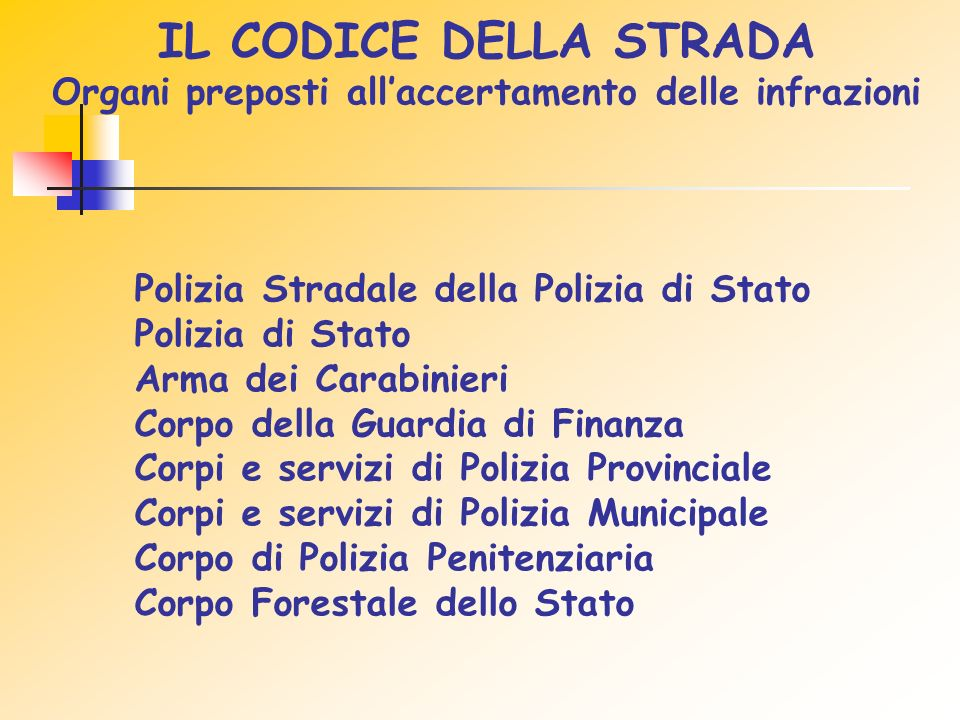 IL CODICE DELLA STRADA Organi preposti all'accertamento delle infrazioni