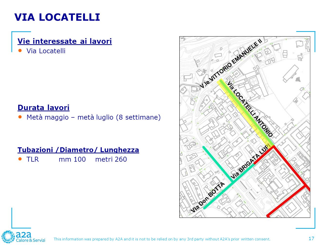 VIA LOCATELLI Vie interessate ai lavori Durata lavori Via Locatelli