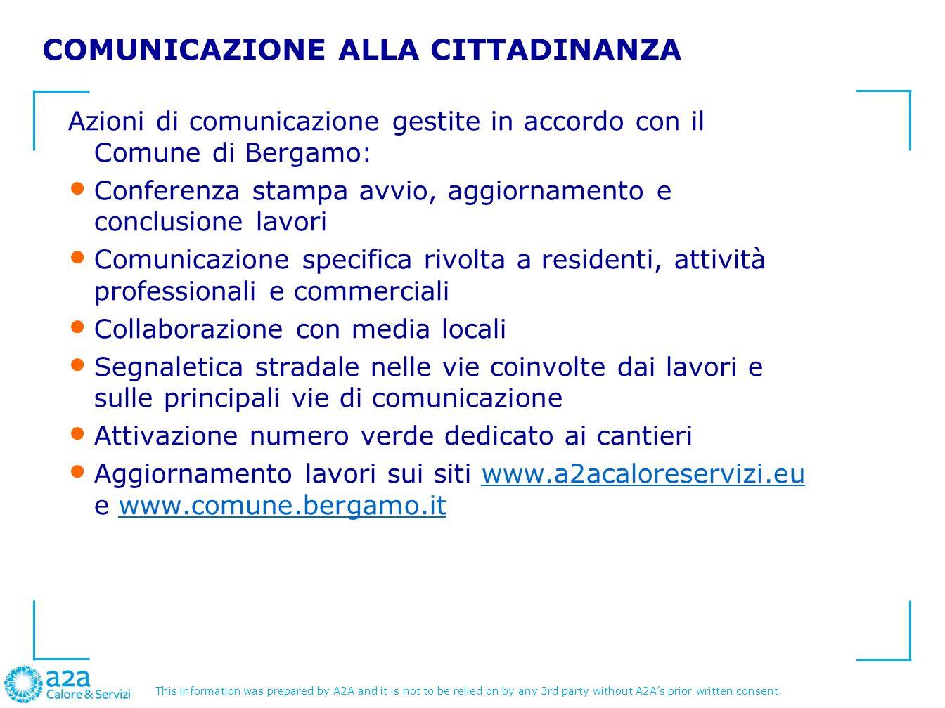 COMUNICAZIONE ALLA CITTADINANZA