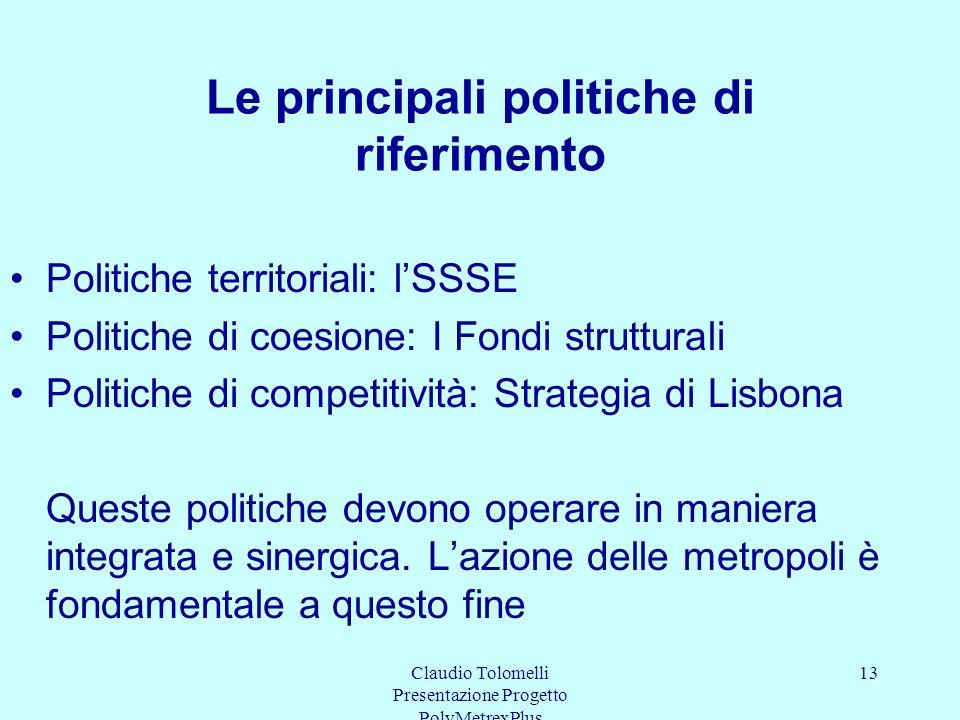 Le principali politiche di riferimento