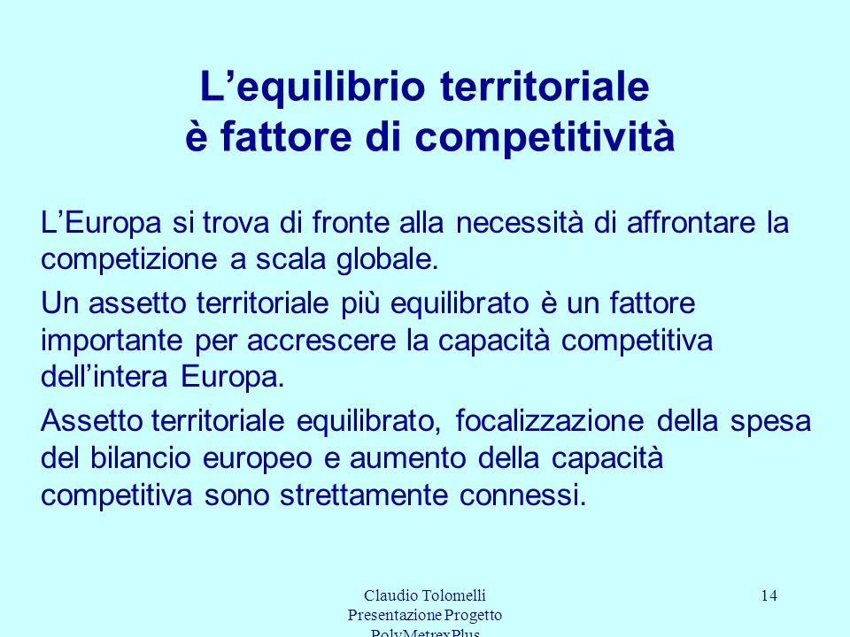 L'equilibrio territoriale è fattore di competitività