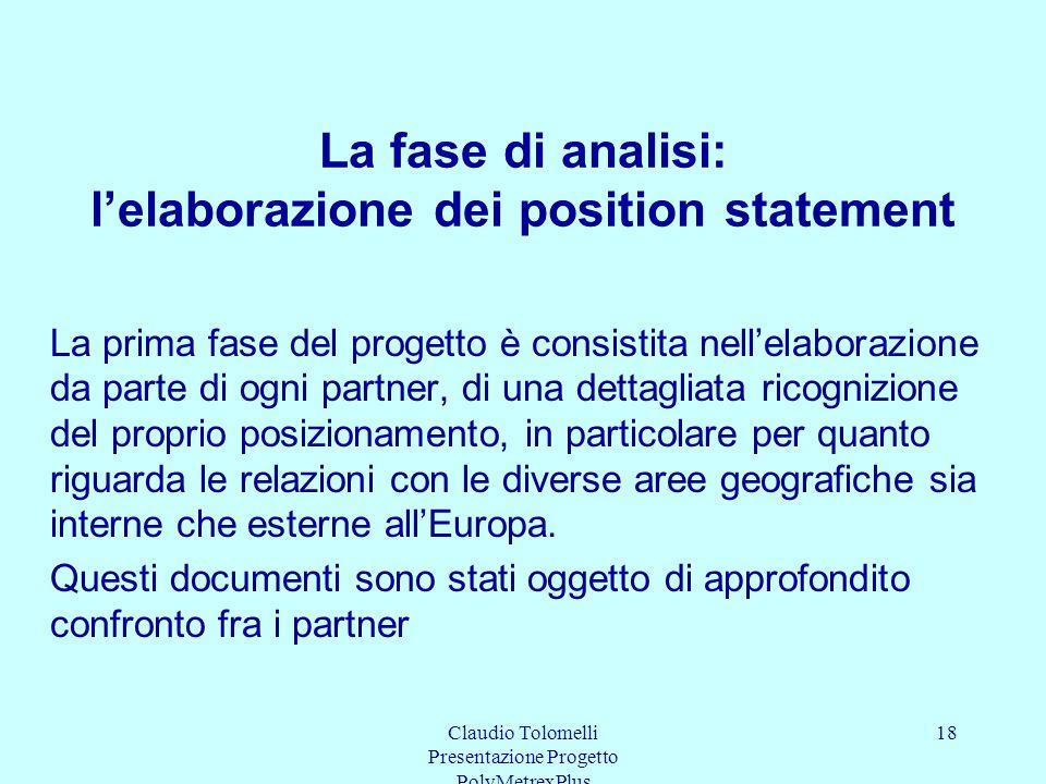 La fase di analisi: l'elaborazione dei position statement