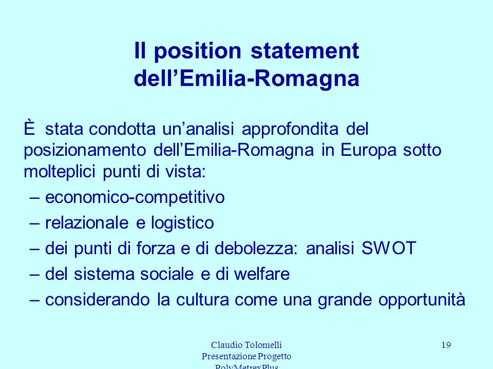 Il position statement dell'Emilia-Romagna