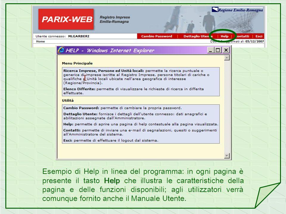 Esempio di Help in linea del programma: in ogni pagina è presente il tasto Help che illustra le caratteristiche della pagina e delle funzioni disponibili; agli utilizzatori verrà comunque fornito anche il Manuale Utente.