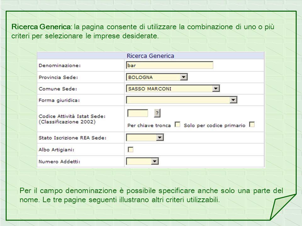 Ricerca Generica: la pagina consente di utilizzare la combinazione di uno o più criteri per selezionare le imprese desiderate.