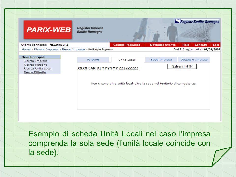 Esempio di scheda Unità Locali nel caso l'impresa comprenda la sola sede (l'unità locale coincide con la sede).