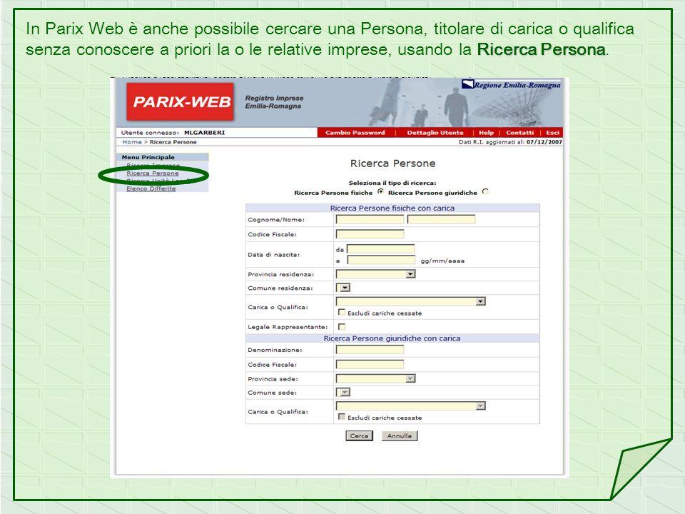 In Parix Web è anche possibile cercare una Persona, titolare di carica o qualifica