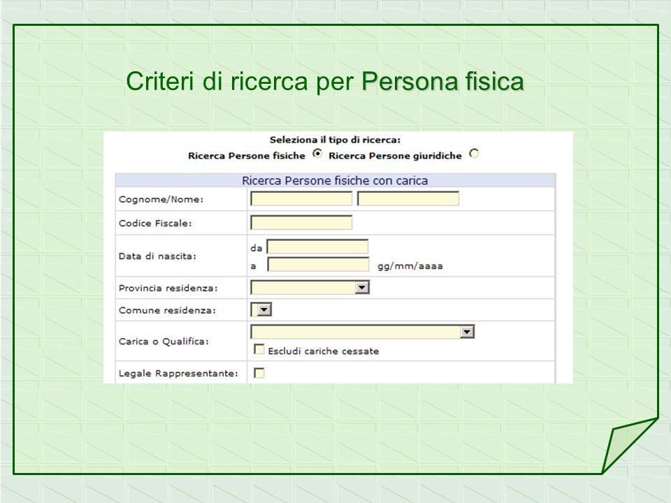 Criteri di ricerca per Persona fisica
