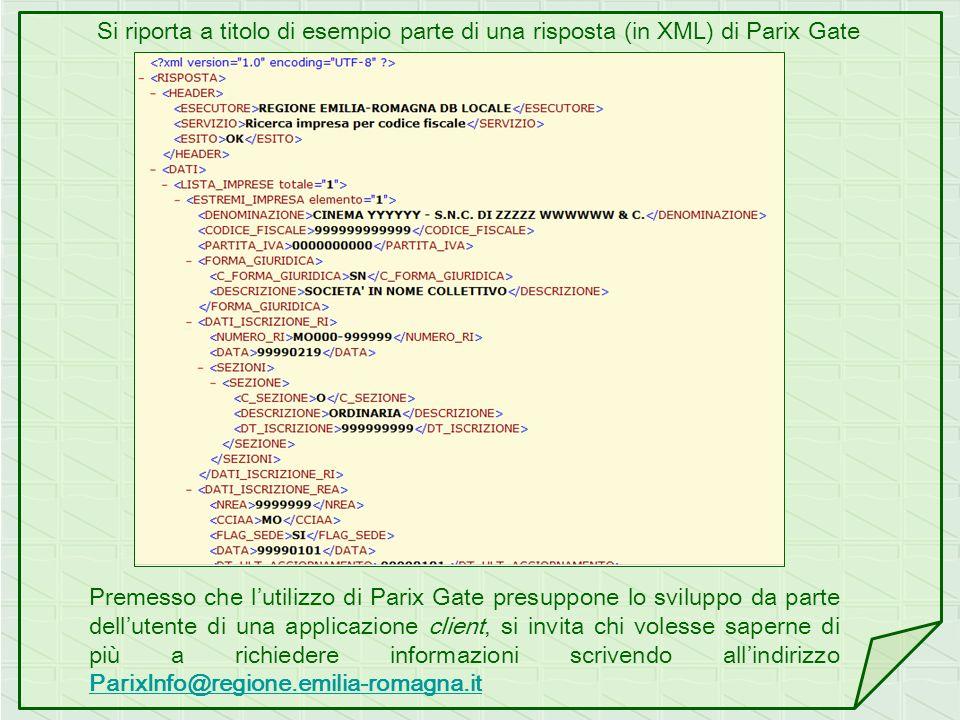 Si riporta a titolo di esempio parte di una risposta (in XML) di Parix Gate