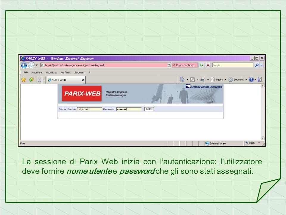 La sessione di Parix Web inizia con l'autenticazione: l'utilizzatore deve fornire nome utente e password che gli sono stati assegnati.