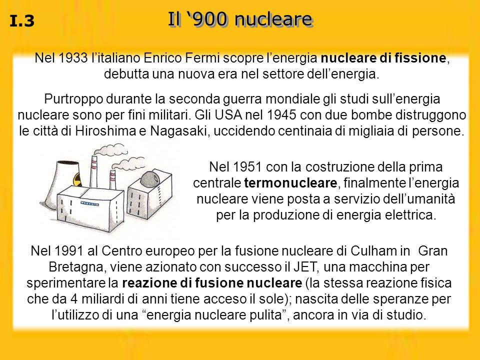Il '900 nucleare I.3. Nel 1933 l'italiano Enrico Fermi scopre l'energia nucleare di fissione, debutta una nuova era nel settore dell'energia.