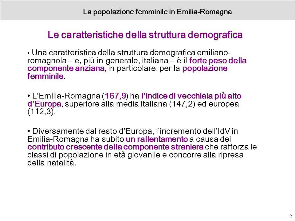 Le caratteristiche della struttura demografica