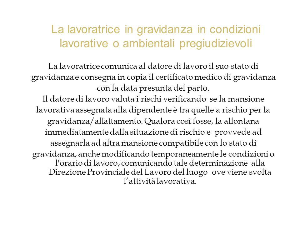 La lavoratrice in gravidanza in condizioni lavorative o ambientali pregiudizievoli