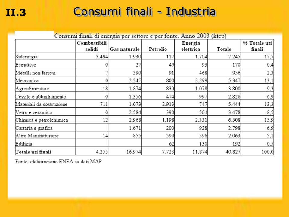 Consumi finali - Industria