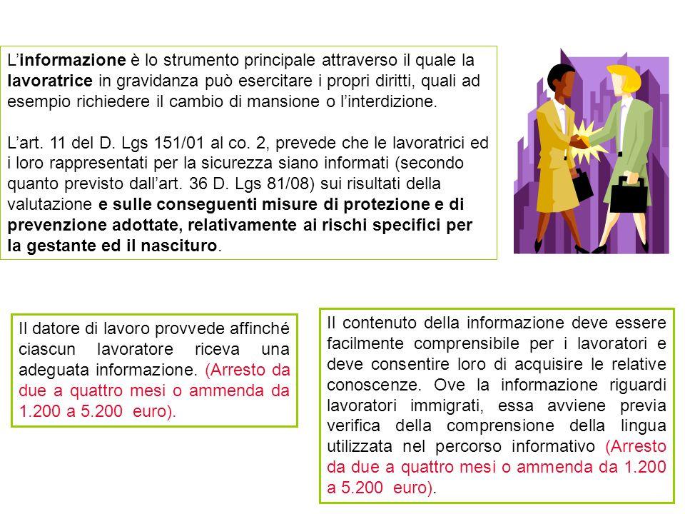 L'informazione è lo strumento principale attraverso il quale la lavoratrice in gravidanza può esercitare i propri diritti, quali ad esempio richiedere il cambio di mansione o l'interdizione.