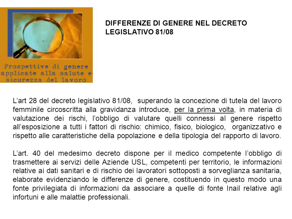 DIFFERENZE DI GENERE NEL DECRETO LEGISLATIVO 81/08