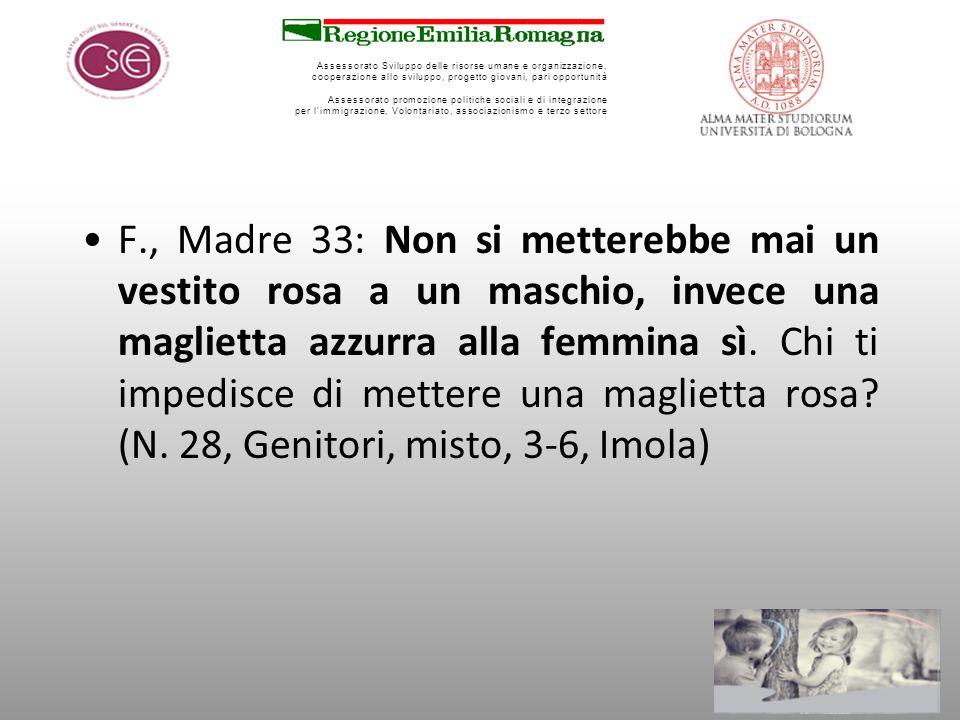 F., Madre 33: Non si metterebbe mai un vestito rosa a un maschio, invece una maglietta azzurra alla femmina sì.