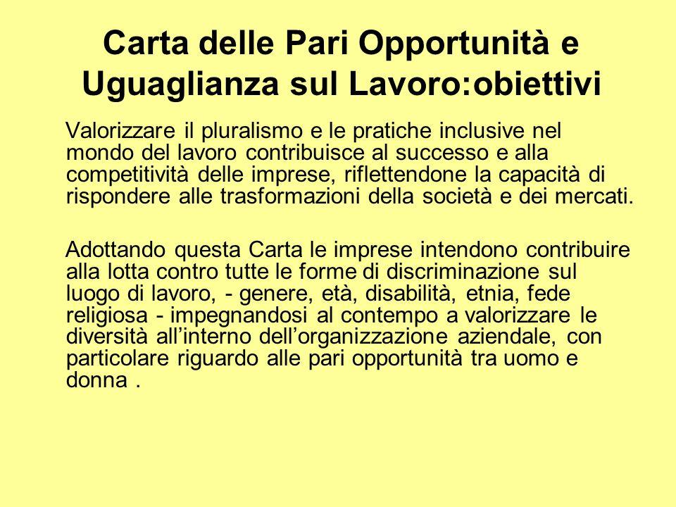 Carta delle Pari Opportunità e Uguaglianza sul Lavoro:obiettivi