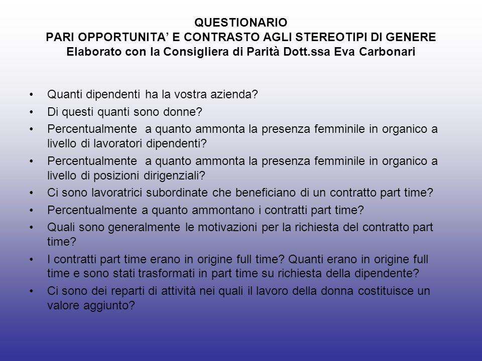 QUESTIONARIO PARI OPPORTUNITA' E CONTRASTO AGLI STEREOTIPI DI GENERE Elaborato con la Consigliera di Parità Dott.ssa Eva Carbonari