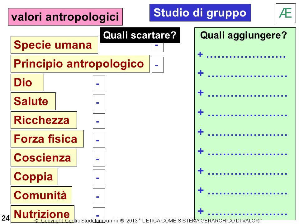 Æ Studio di gruppo valori antropologici Specie umana