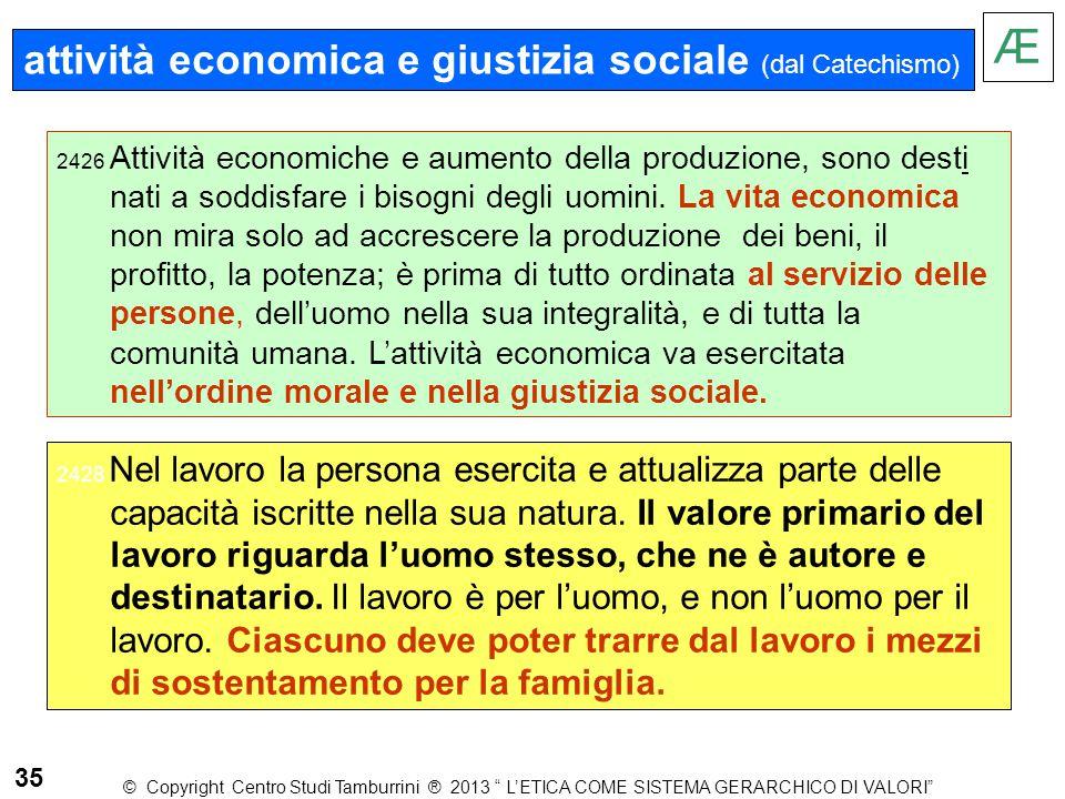 Æ attività economica e giustizia sociale (dal Catechismo) 35