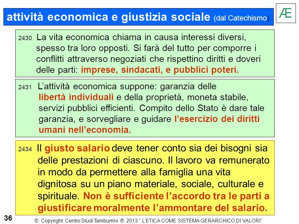 Æ attività economica e giustizia sociale (dal Catechismo)