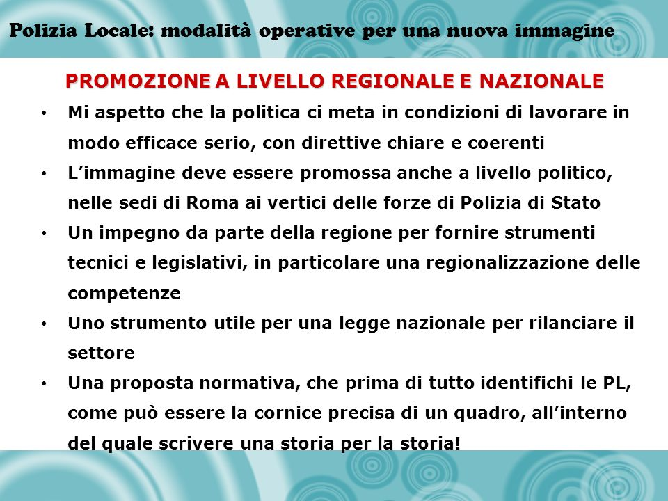 PROMOZIONE A LIVELLO REGIONALE E NAZIONALE
