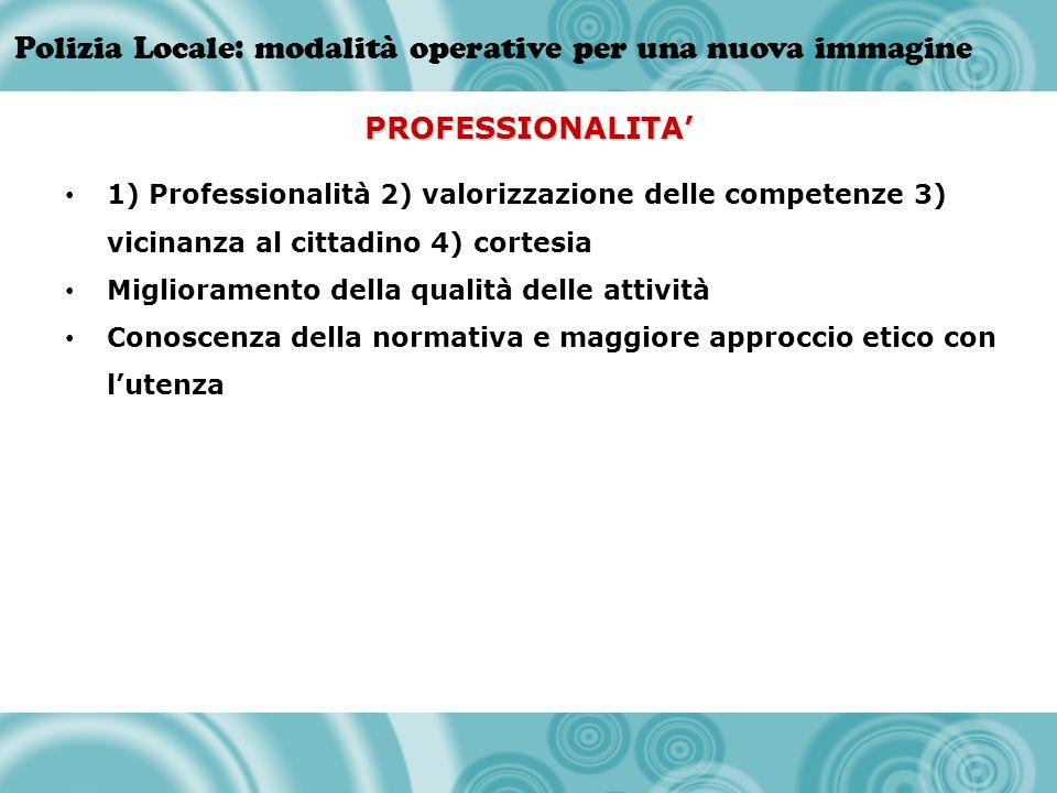 PROFESSIONALITA' 1) Professionalità 2) valorizzazione delle competenze 3) vicinanza al cittadino 4) cortesia.