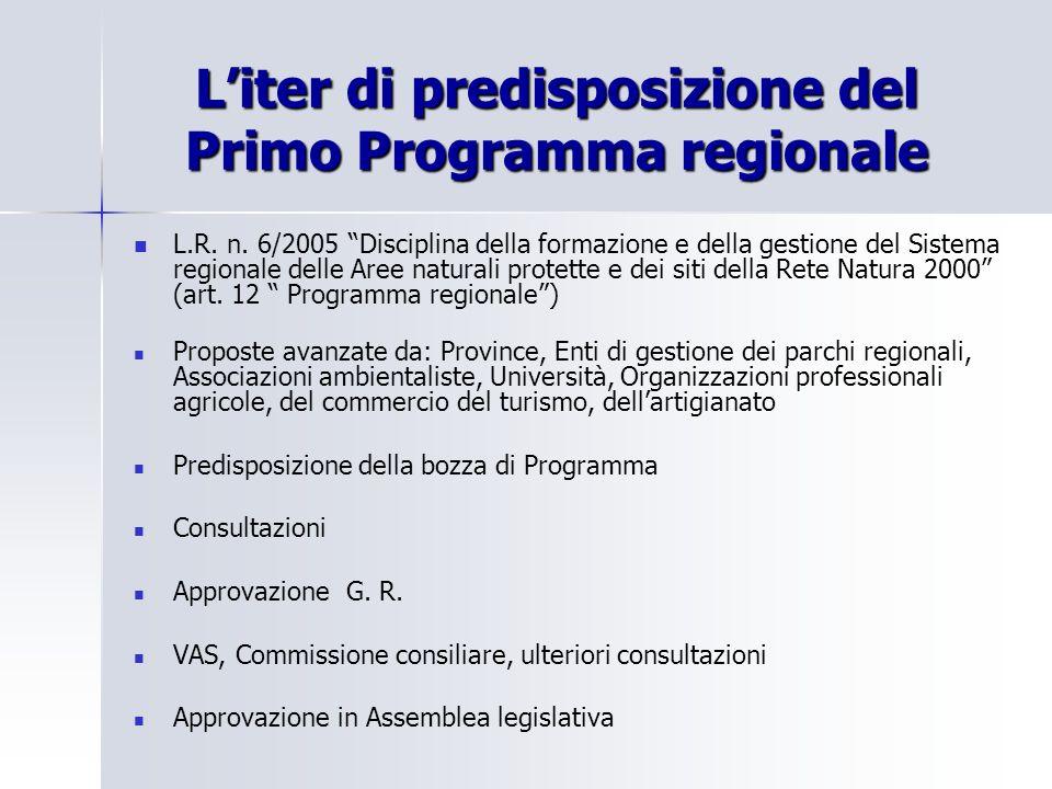 L'iter di predisposizione del Primo Programma regionale