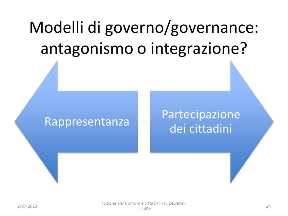 Modelli di governo/governance: antagonismo o integrazione