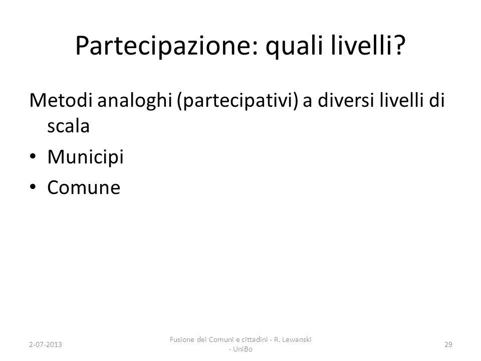 Partecipazione: quali livelli