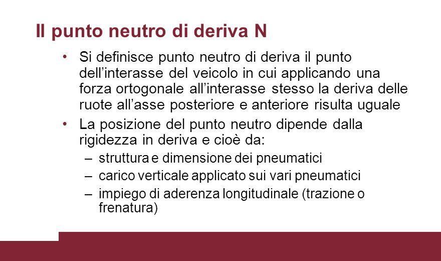 Il punto neutro di deriva N