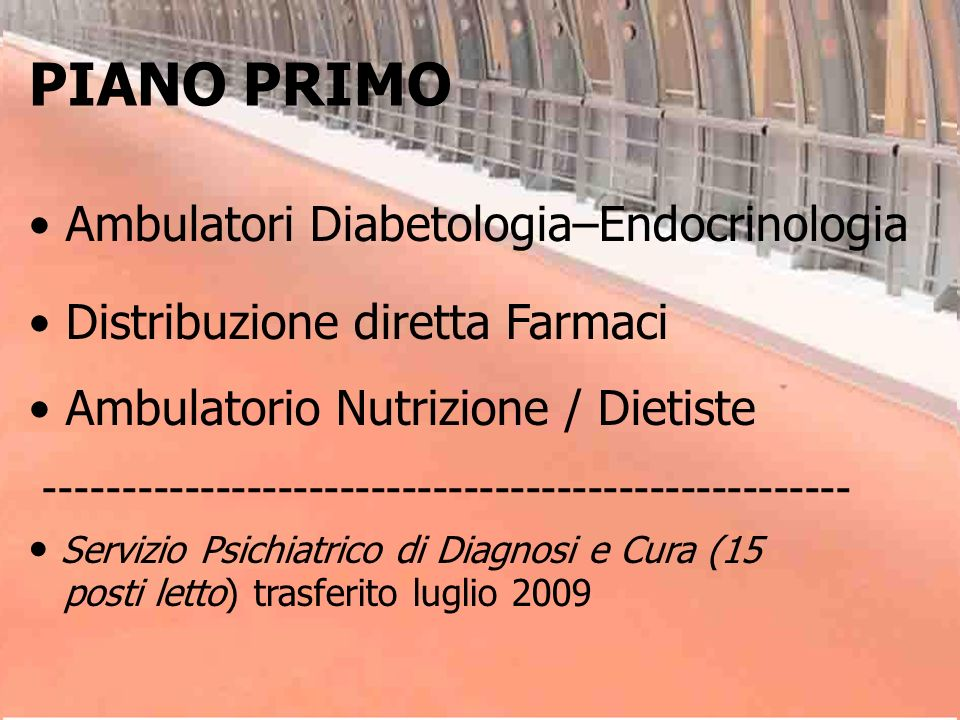 PIANO PRIMO Ambulatori Diabetologia–Endocrinologia