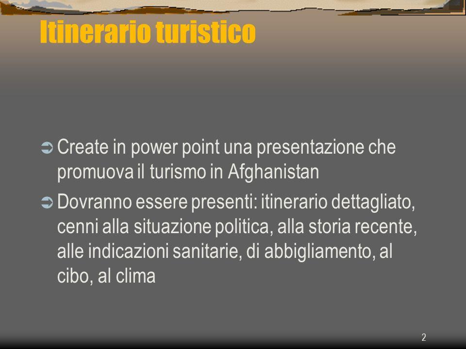 Itinerario turistico Create in power point una presentazione che promuova il turismo in Afghanistan.