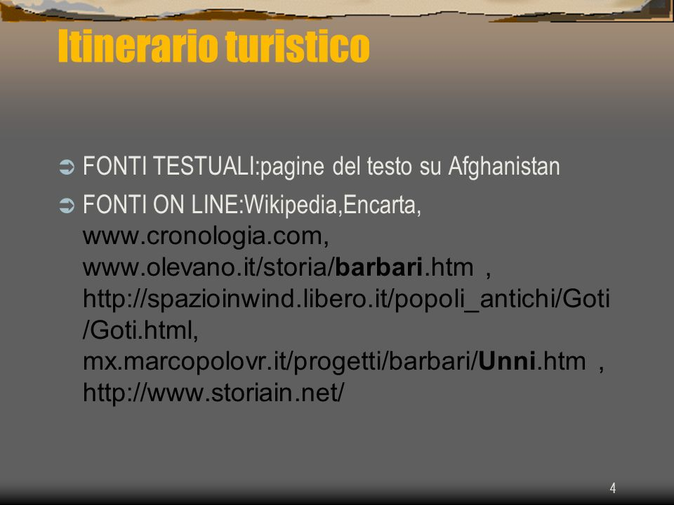 Itinerario turistico FONTI TESTUALI:pagine del testo su Afghanistan